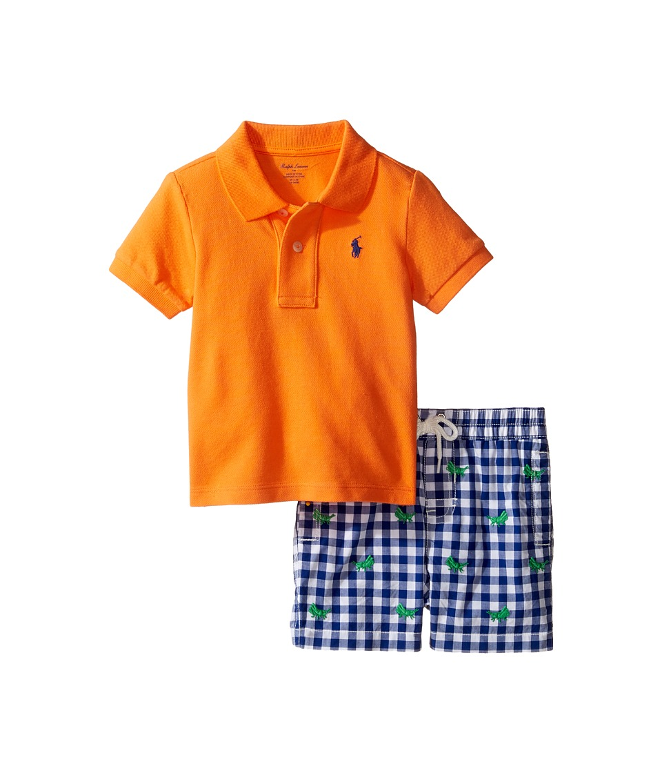 Ralph Lauren Baby - Basic Mesh Gingham Shorts Set (Infant) (Resort Orange) Boy's Active Sets