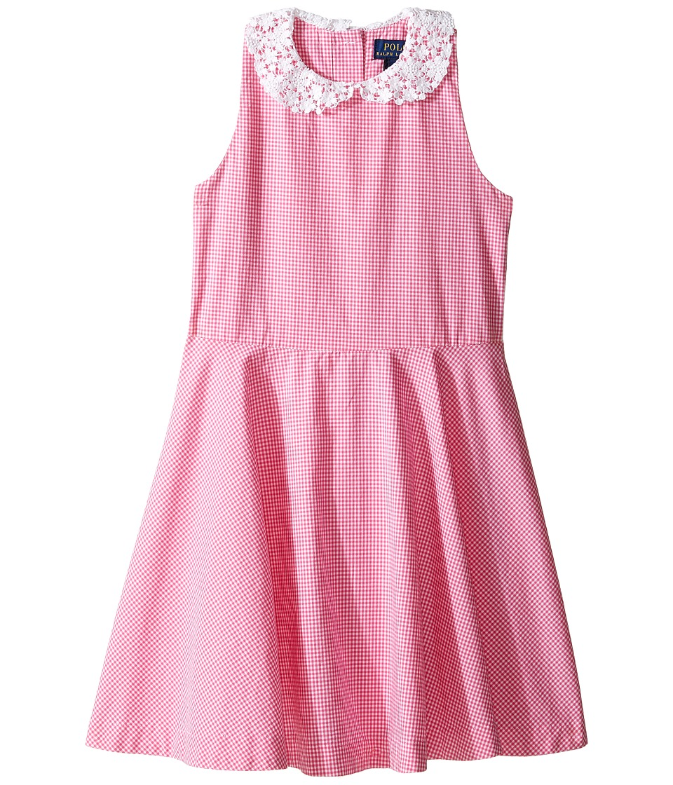 Polo Ralph Lauren Kids - Poplin Gingham Dress (Little Kids) (Pink/White) Girl's Dress