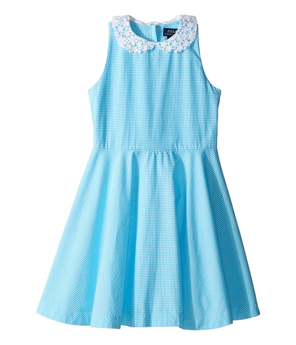 Polo Ralph Lauren Kids - Poplin Gingham Dress (Little Kids) (Blue/White) Girl's Dress