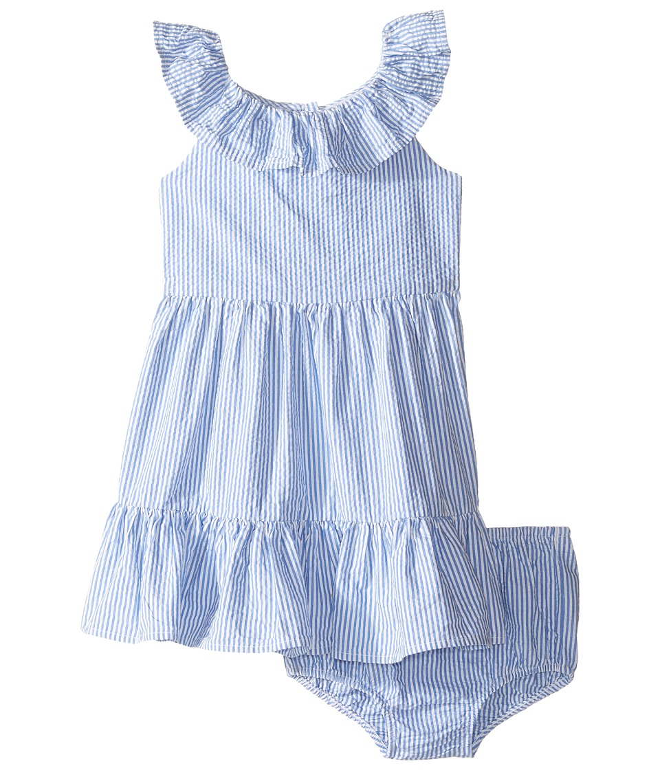Ralph Lauren Baby - Seersucker Ruffle Dress (Infant) (Blue/White) Girl's Dress
