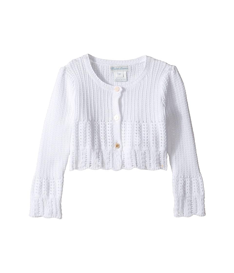 Ralph Lauren Baby - Cotton Blend Sweet Shrug Sweater (Infant) (White) Girl's Sweater