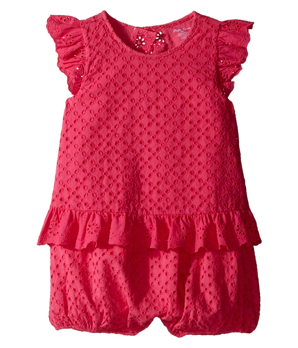 Ralph Lauren Baby - Eyelet Bubble Shortalls (Infant) (Ultra Pink) Girl's Jumpsuit & Rompers One Piece