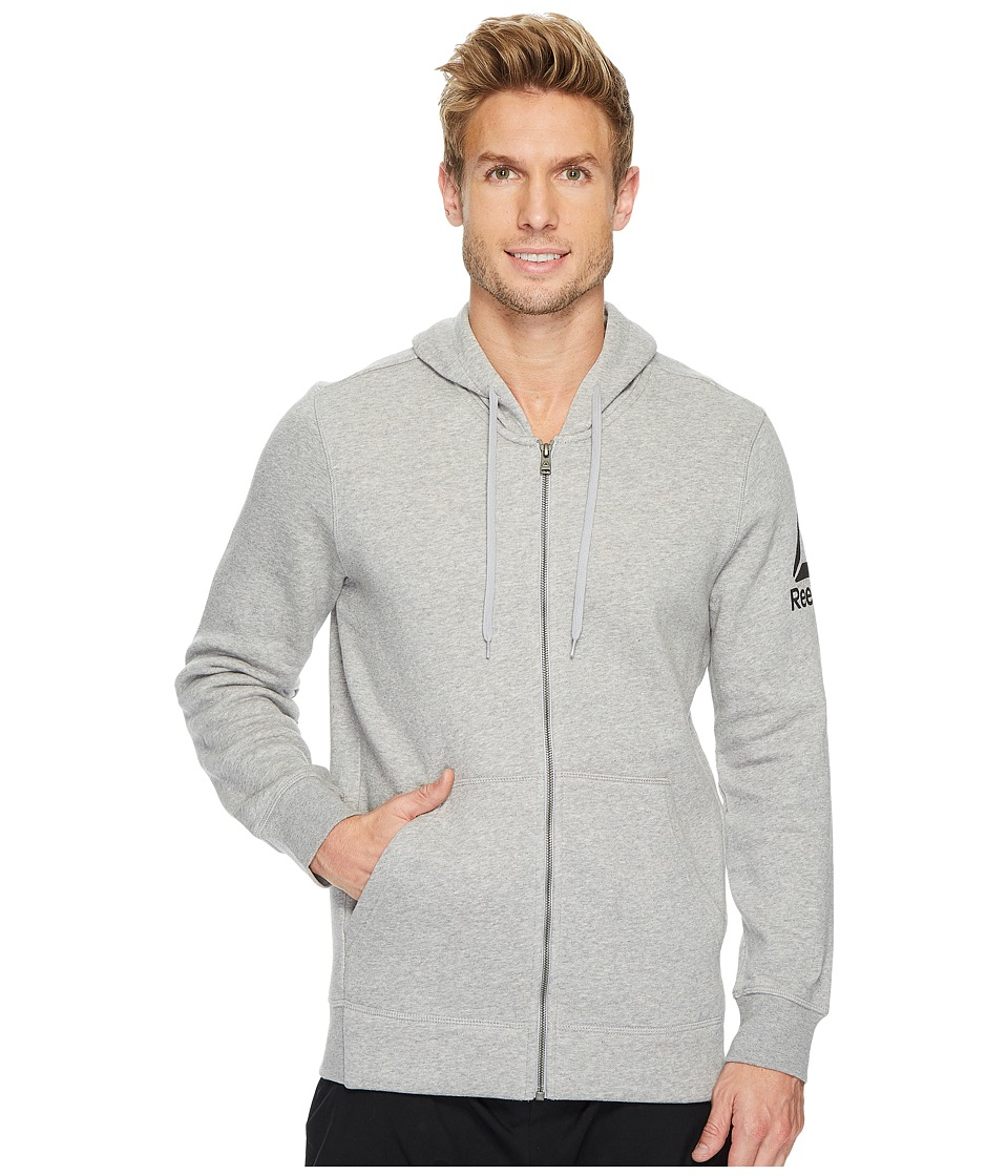 Reebok - Cotton Blend Full Zip Hoodie (Medium Grey Heather) Men's Sweatshirt