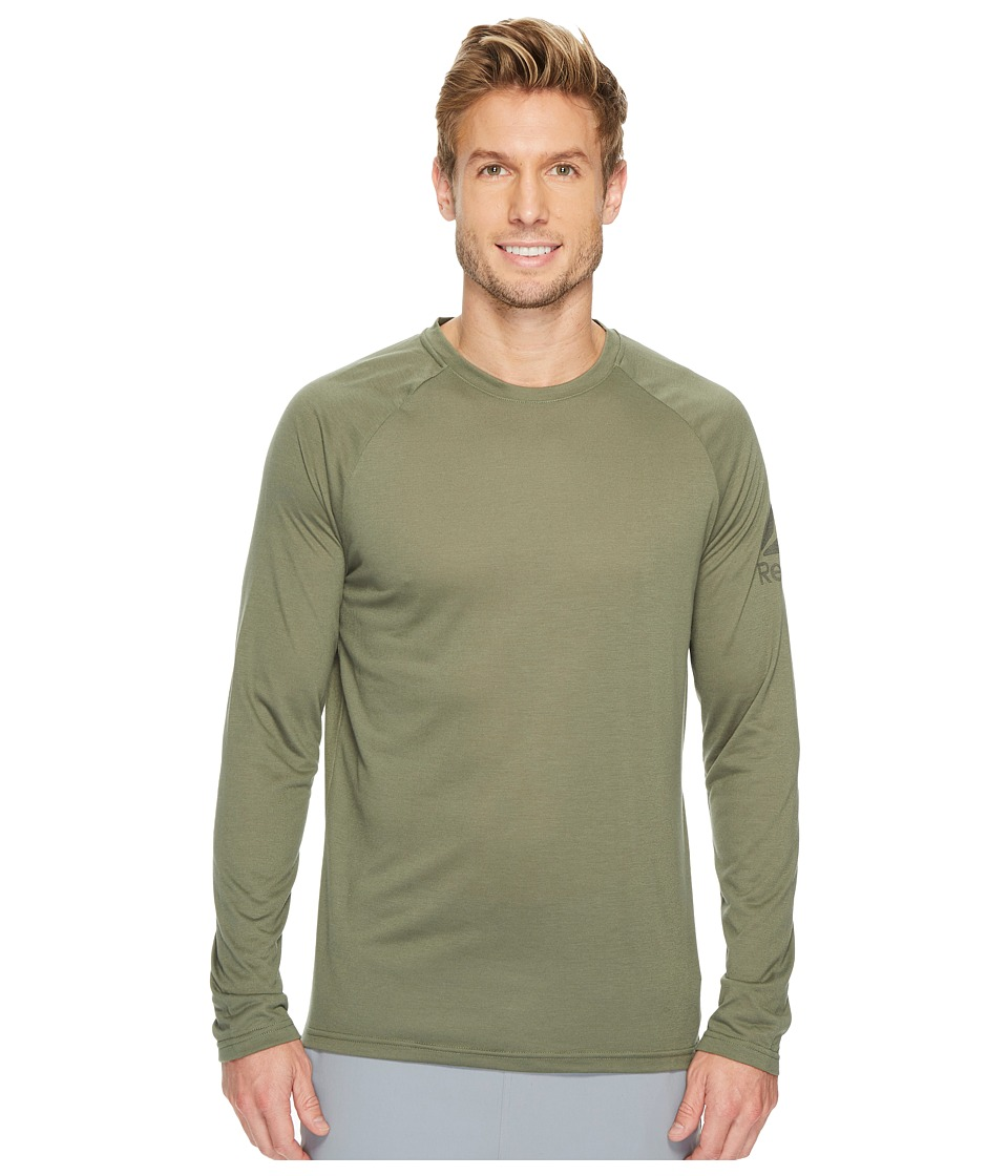 Reebok - Supremium Long Sleeve Baseball Tee (Hunter Green) Men's Workout