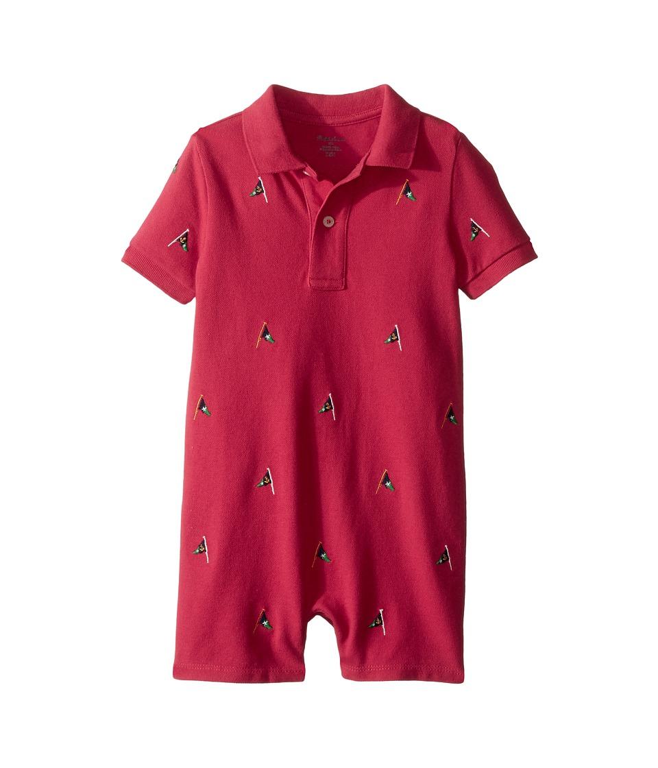 Ralph Lauren Baby - Mesh Schiffili Shortalls (Infant) (Sedona Orange) Boy's Overalls One Piece