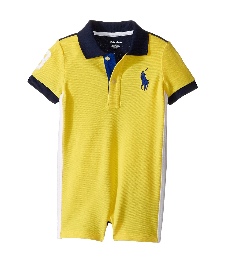 Ralph Lauren Baby - Classic Mesh Polo Shortalls (Infant) (Tournament Yellow) Boy's Overalls One Piece