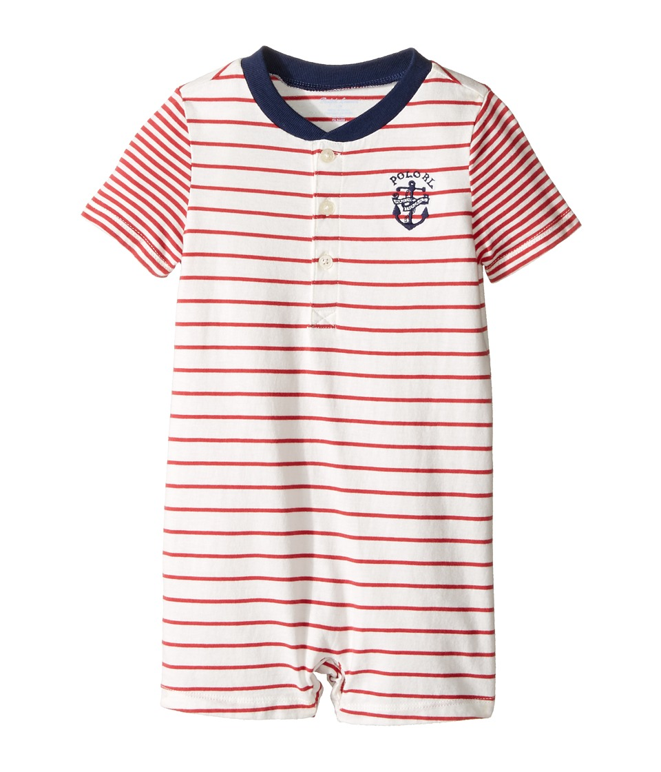 Ralph Lauren Baby - 30/1 Jersey Shortalls (Infant) (Sedona Orange/Nevi) Boy's Overalls One Piece