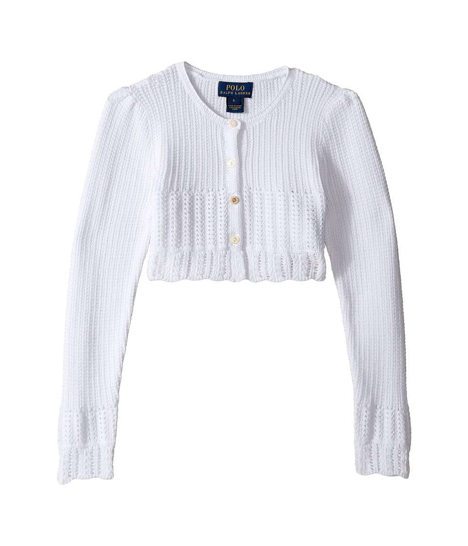 Polo Ralph Lauren Kids - Cotton Blend Sweet Shrug Sweater (Little Kids) (White) Girl's Sweater