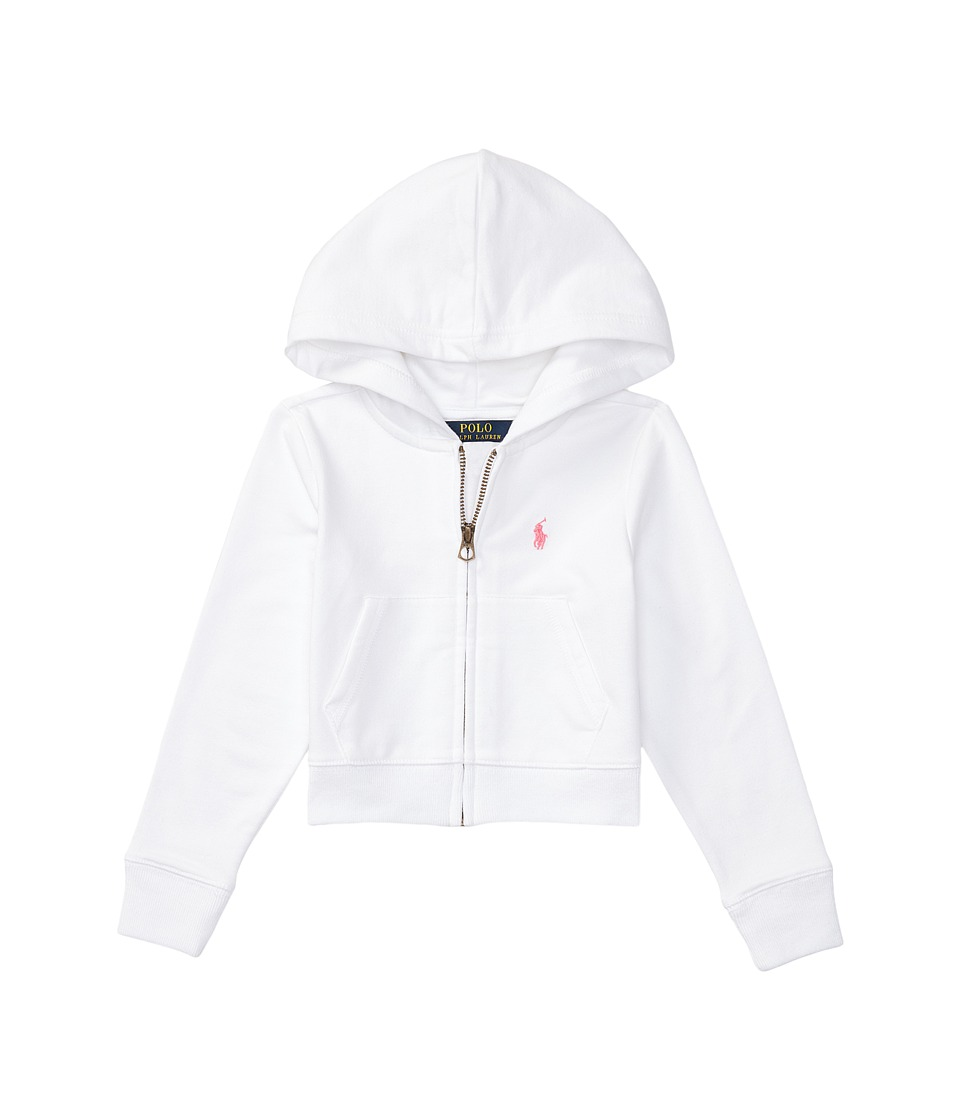 Polo Ralph Lauren Kids - Terry Zip-Up Hoodie (Little Kids) (White) Girl's Sweatshirt