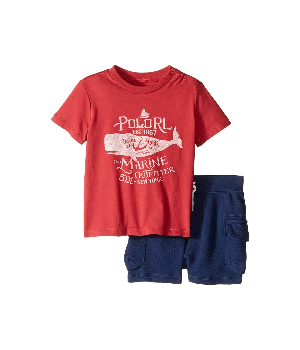 Ralph Lauren Baby - 30s Jersey Graphic Tee Shorts Set (Infant) (Sedona Orange) Boy's Active Sets