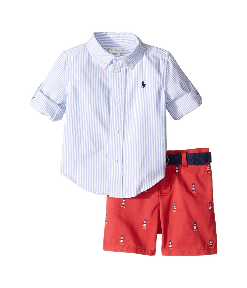Ralph Lauren Baby - Oxford Schiffli Shorts Set (Infant) (Blue/White) Boy's Active Sets