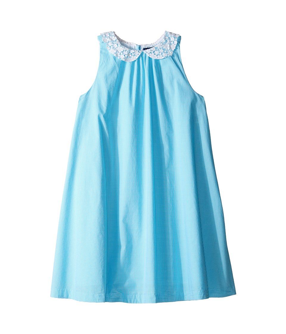 Polo Ralph Lauren Kids - Poplin Gingham Dress (Big Kids) (Blue/White) Girl's Dress