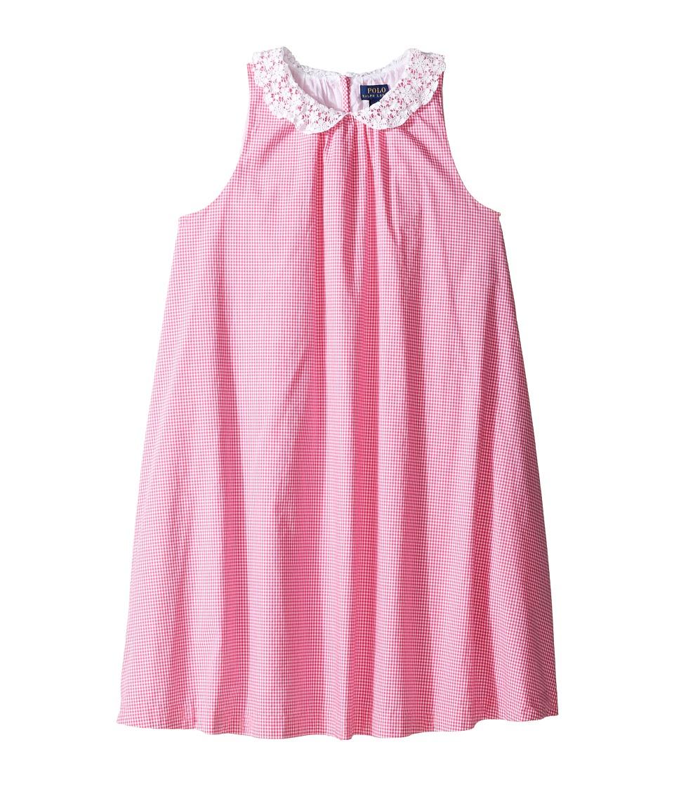 Polo Ralph Lauren Kids - Poplin Gingham Dress (Big Kids) (Pink/White) Girl's Dress