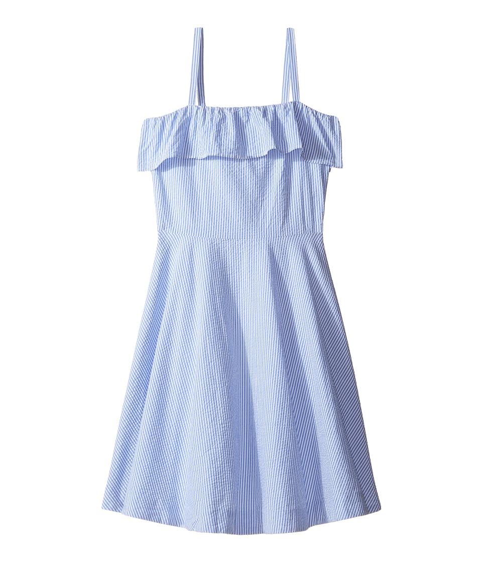 Polo Ralph Lauren Kids - Seersucker Dress (Big Kids) (Blue/White) Girl's Dress