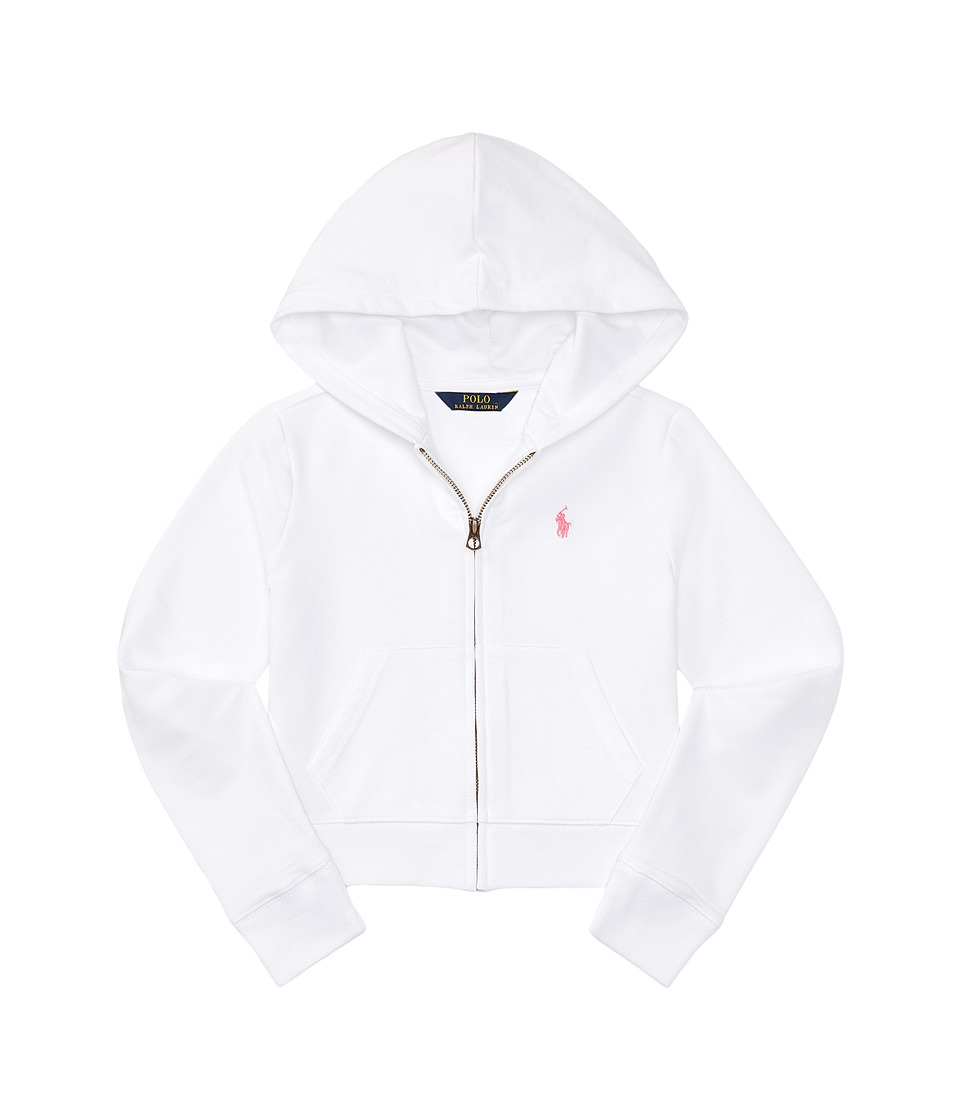 Polo Ralph Lauren Kids - Terry Zip-Up Hoodie (Little Kids/Big Kids) (White) Girl's Sweatshirt