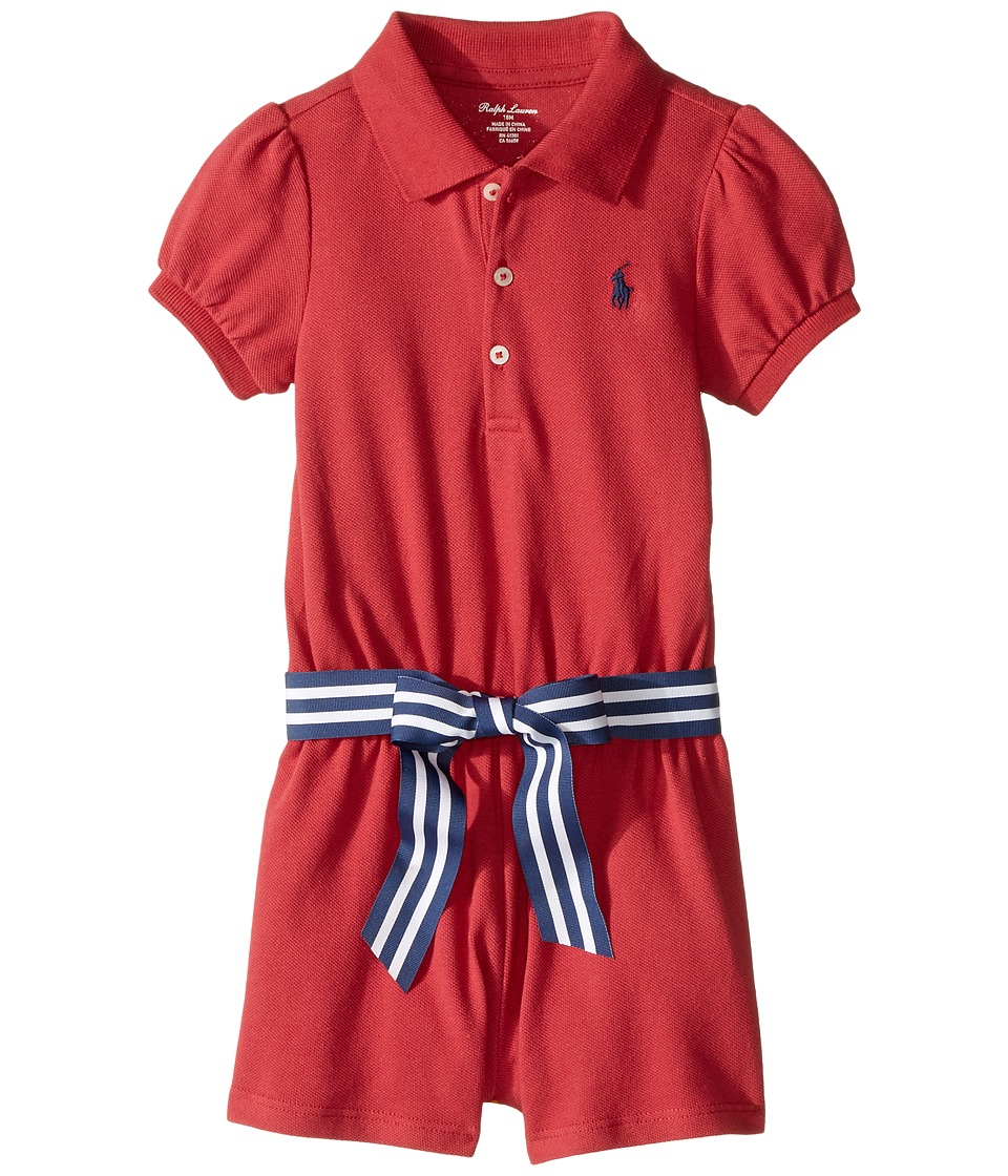 Ralph Lauren Baby - Stretch Mesh Polo Romper (Infant) (Sedona Orange) Girl's Jumpsuit & Rompers One Piece