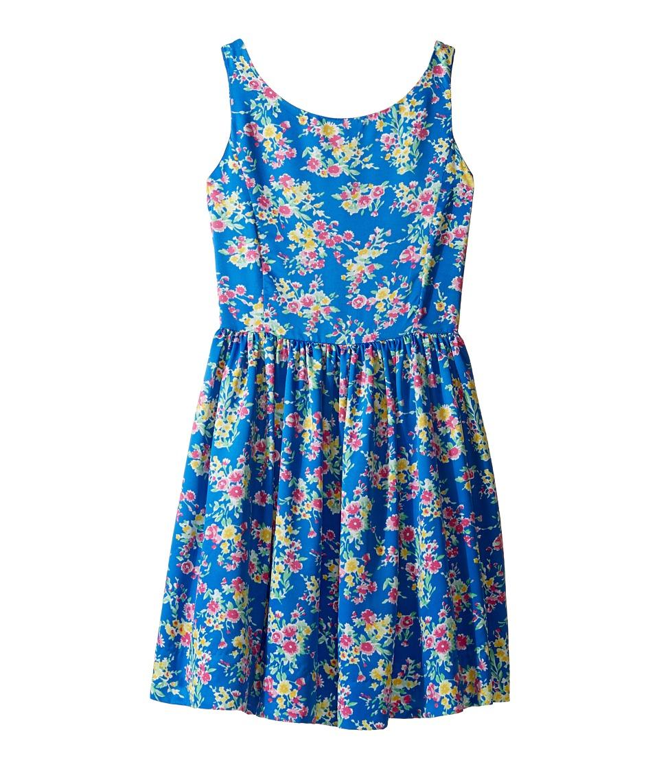 Polo Ralph Lauren Kids - Poly Twill Floral Dress (Big Kids) (Blue Multi) Girl's Dress