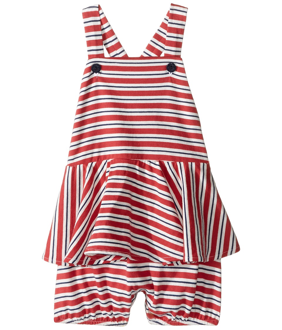 Ralph Lauren Baby - Jersey Stripe Peplum Shortalls (Infant) (Navy/Red/White Multi) Girl's Overalls One Piece