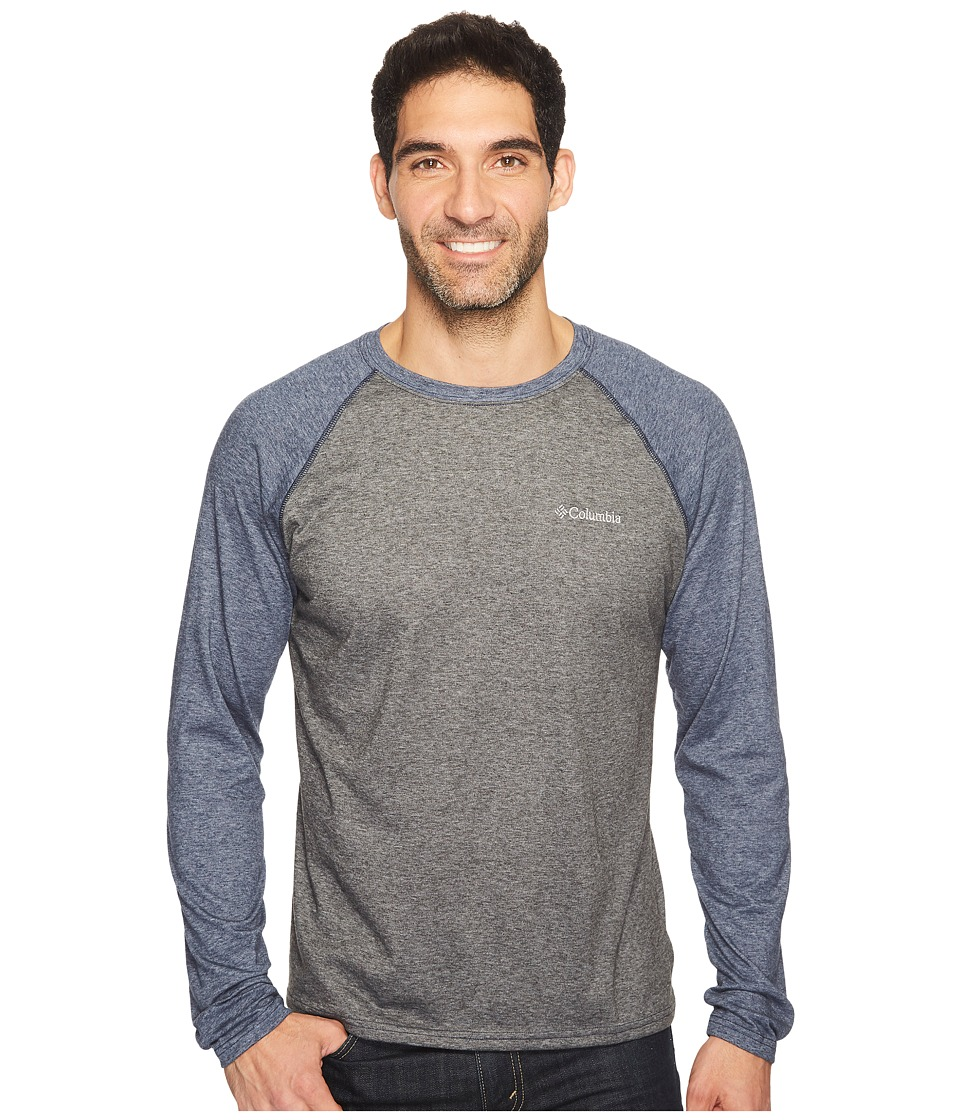 Columbia - Thistletown Park Raglan Tee (Shark Heather/Collegiate Navy Heather) Men's T Shirt