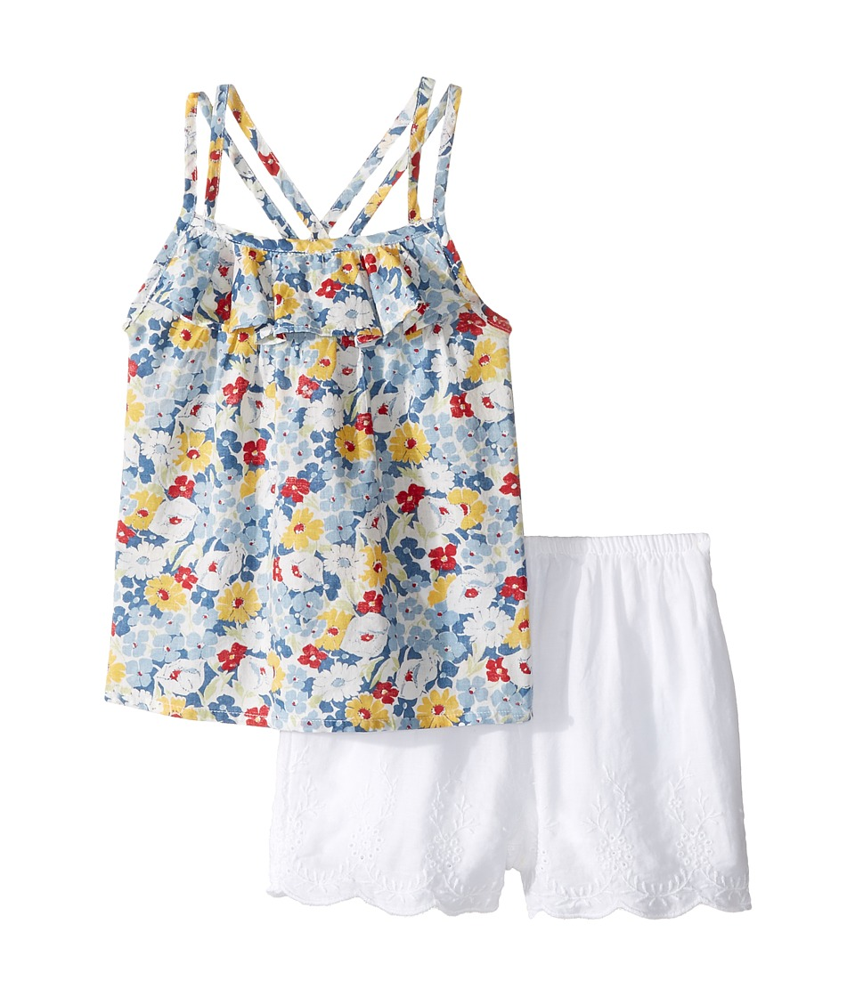 Ralph Lauren Baby - Twill Floral Top Shorts Set (Infant) (Blue Multi) Girl's Active Sets