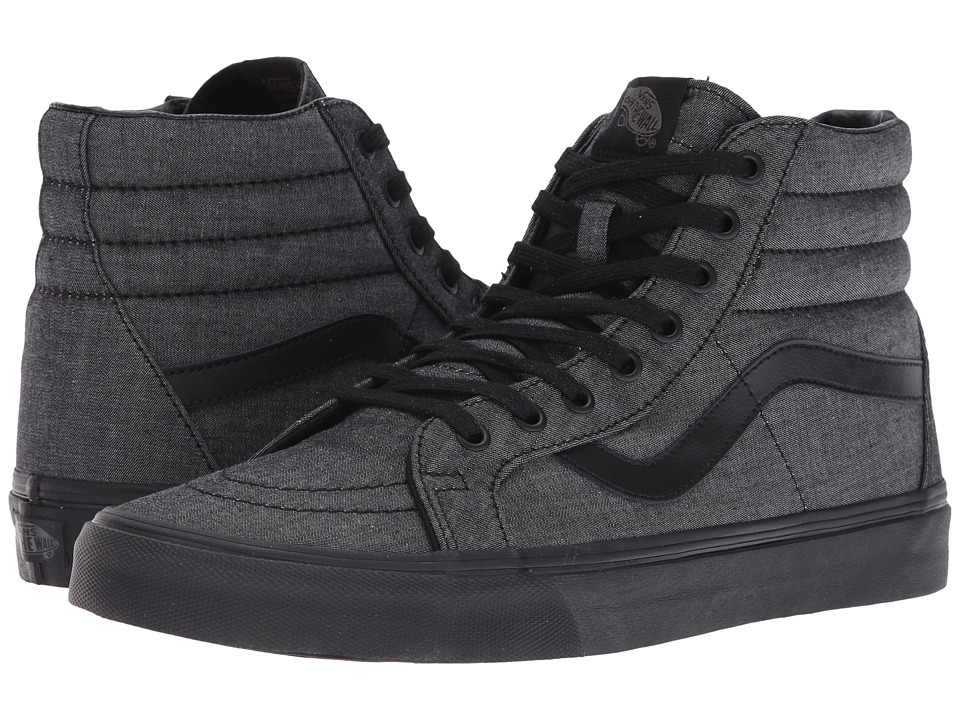 Vans - SK8-Hi Reissue ((Mono Chambray) Black/Black) Skate Shoes