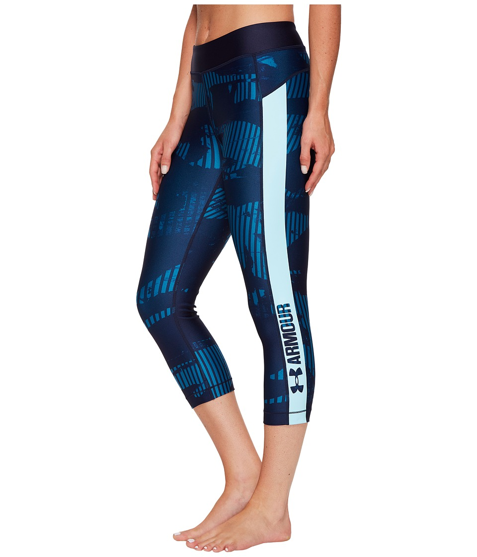 Under Armour - UA HeatGear(r) Armour Printed Grapic Capri (Midnight Navy/Blue Infinity/Metallic Silver) Women's Capri