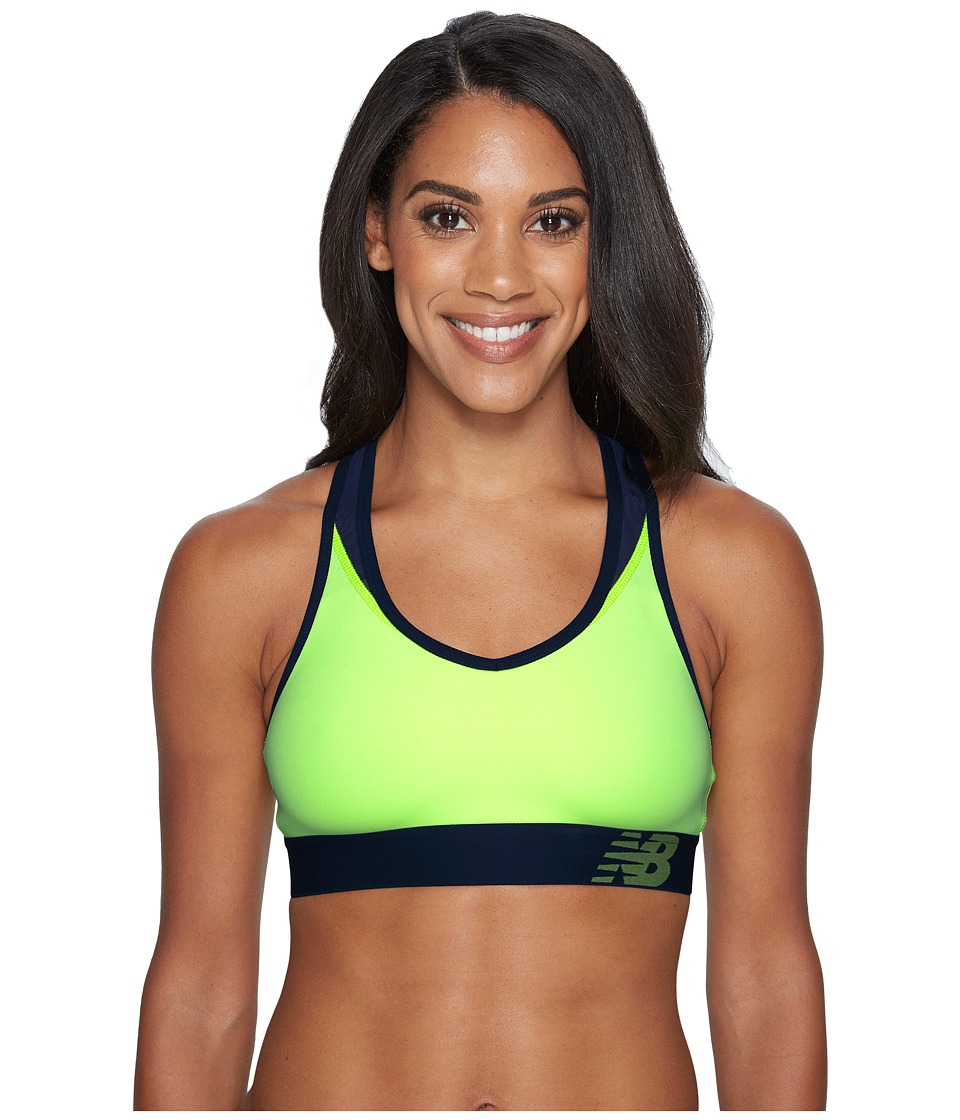 New Balance Pace Bra (Bleached Lime Glo/Pigment) Women