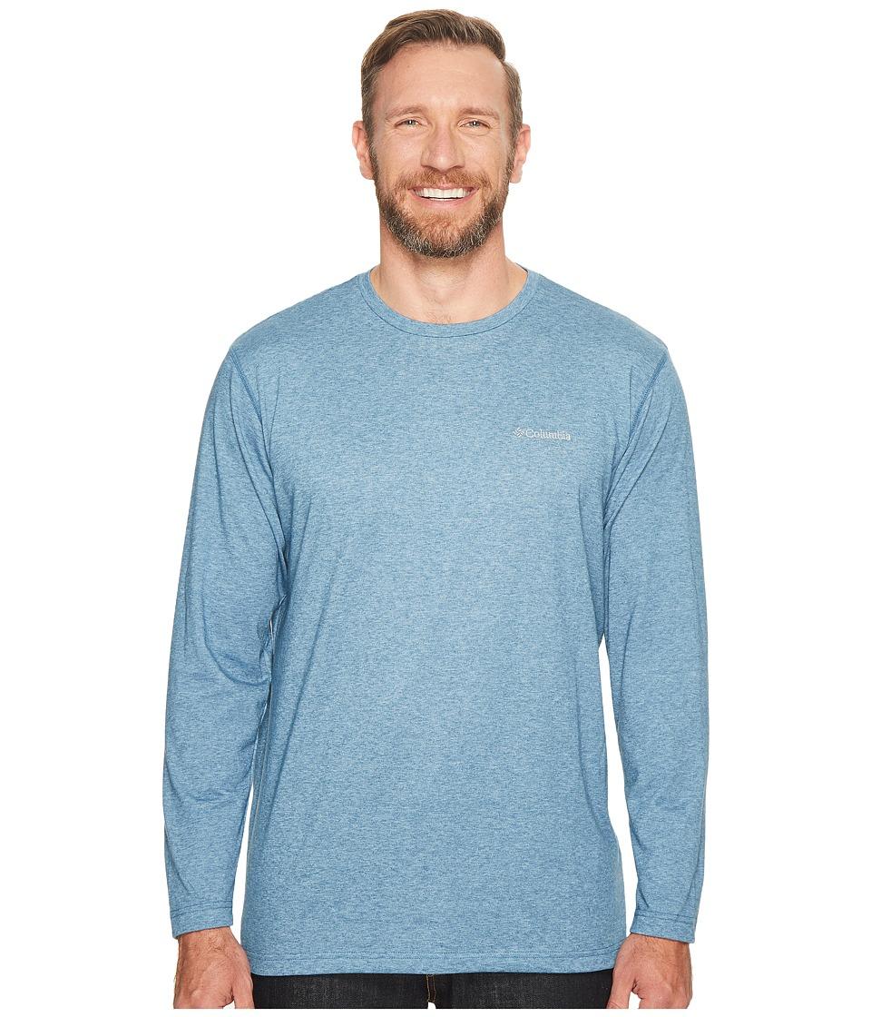 Columbia - Plus Size Thistletown Park Long Sleeve Crew (Blue Heron Heather) Men's Long Sleeve Button Up