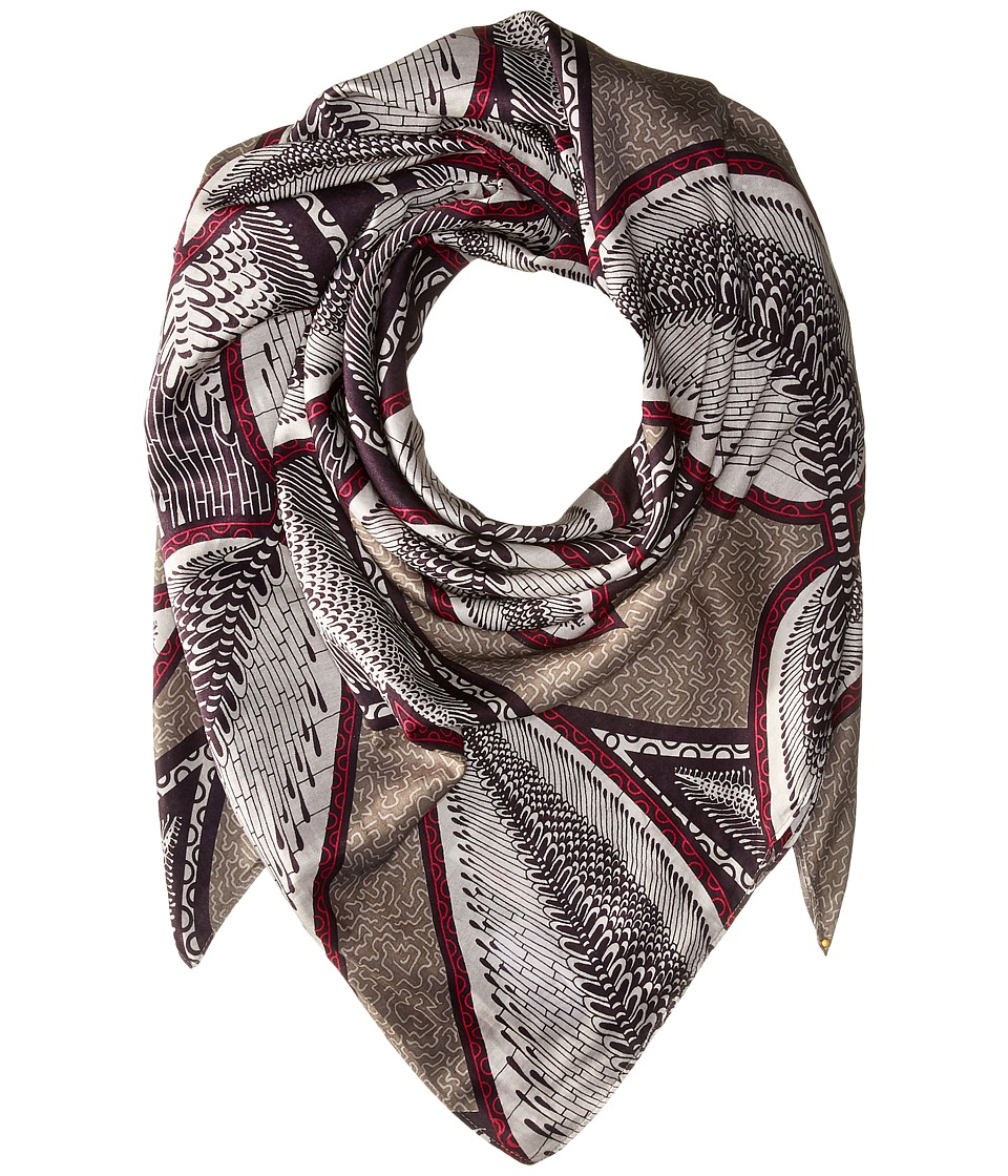 Liebeskind - F2179590 Cosilk Scarf (Elephant Grey Jungle Leafs) Scarves