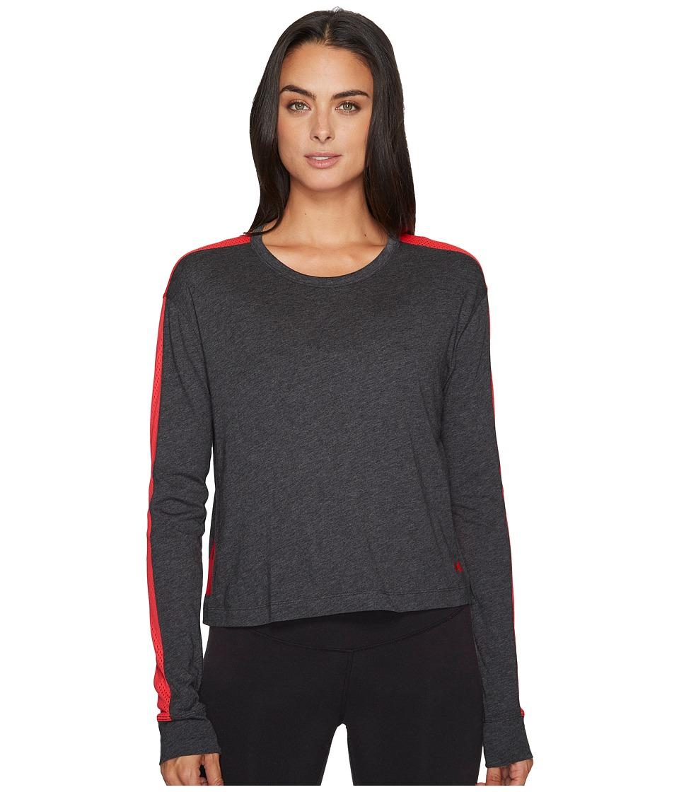 Under Armour Favorite Mesh Long Sleeve Graphic (Carbon Heather/Marathon Red/Marathon Red) Women