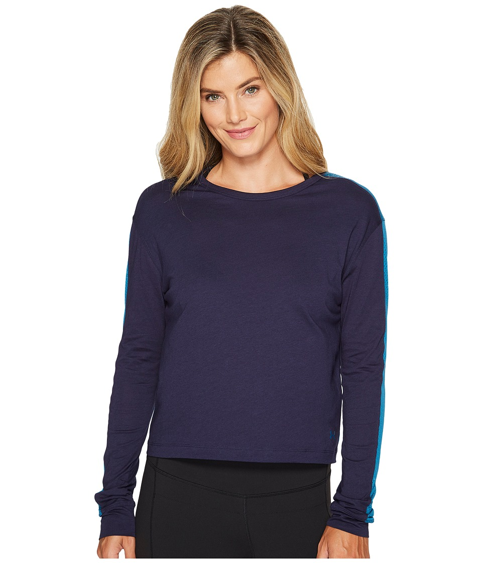 Under Armour Favorite Mesh Long Sleeve Graphic (Midnight Navy/Bayou Blue/Bayou Blue) Women