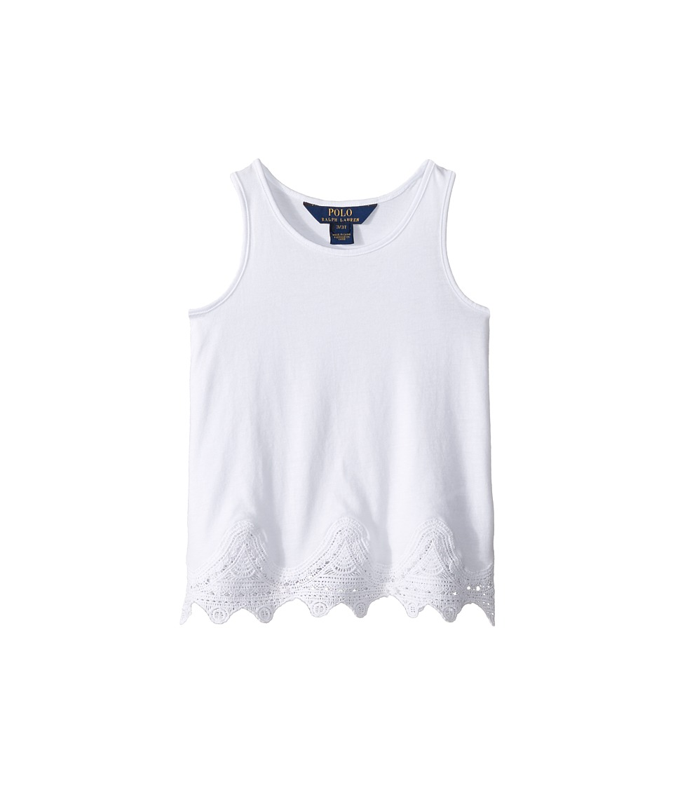 Polo Ralph Lauren Kids - Jersey Lace Tank Top (Toddler) (Pure White) Girl's Sleeveless