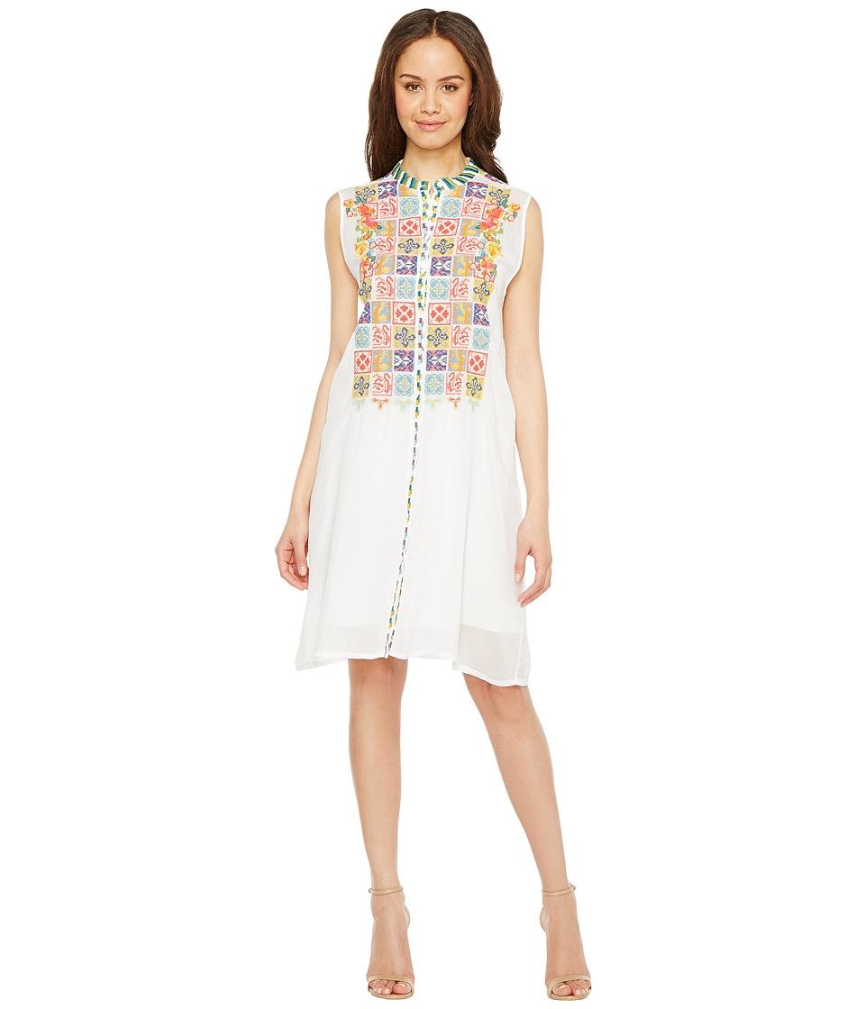 Johnny Was - Torreya Button Down Dress w/ Slip (White) Women's Dress