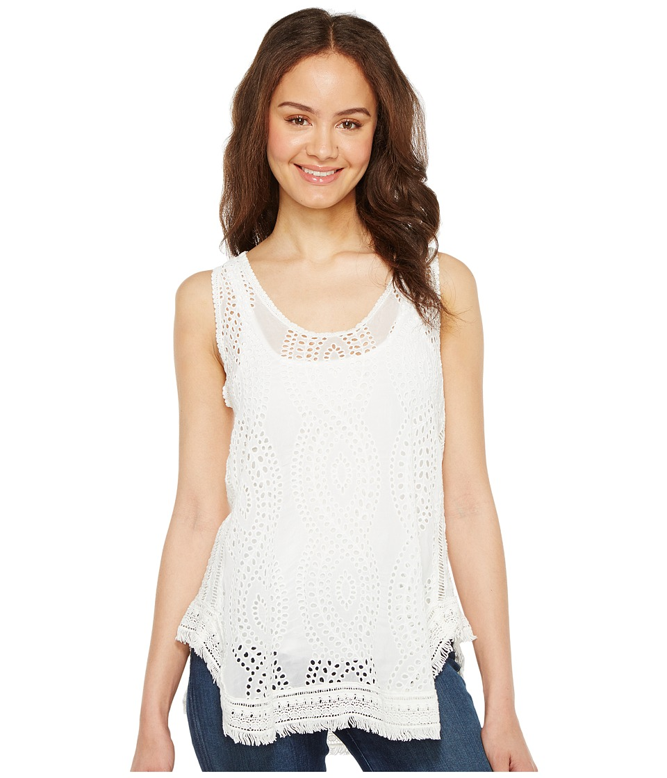 Johnny Was - Hoxie Eyelet Tank Top (White) Women's Sleeveless