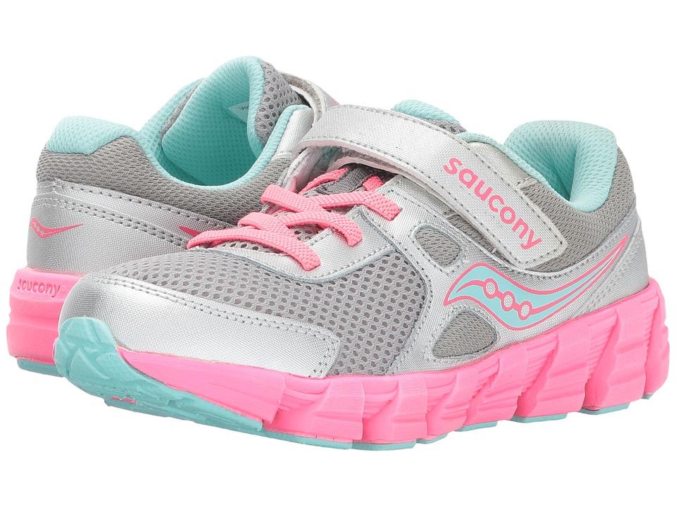 Saucony Kids - Vortex A/C (Little Kid/Big Kid) (Silver/Coral) Girl's Shoes