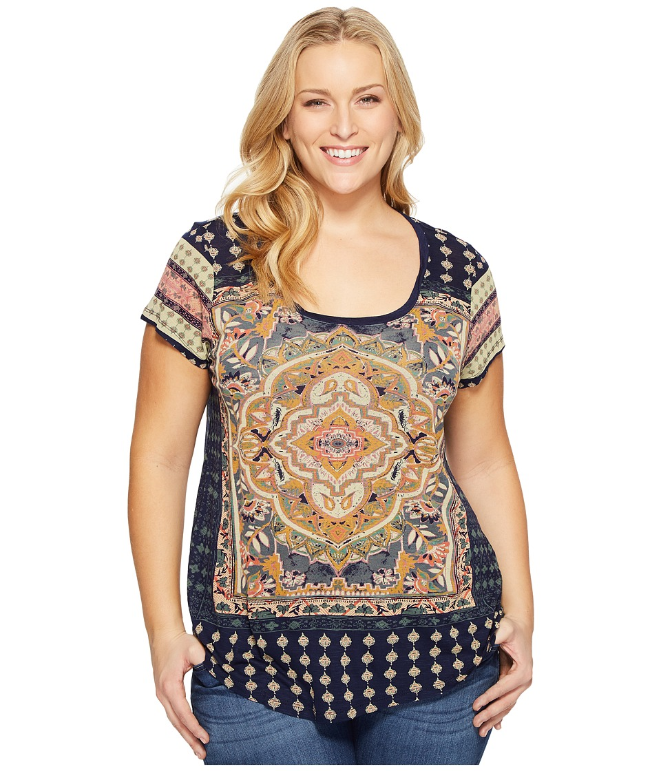 Lucky Brand - Plus Size Persian Carpet Tee (Navy Multi) Women's T Shirt