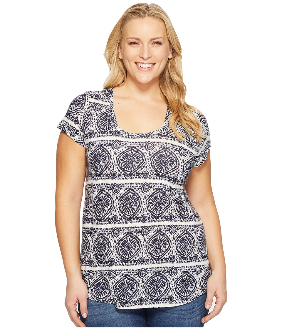 Lucky Brand - Plus Size Geo Striped Tee (Blue Multi) Women's T Shirt