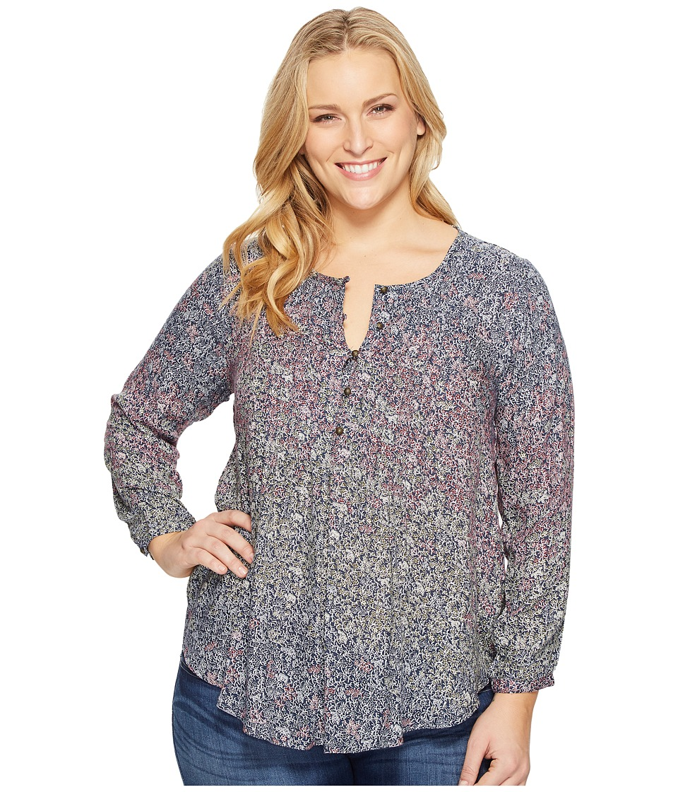 Lucky Brand - Plus Size Pintuck Peasant Top (Multi) Women's Clothing
