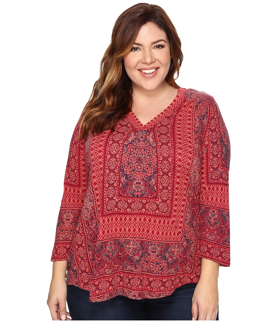 Lucky Brand - Plus Size Border Print Top (Bright Rose Multi) Women's Clothing
