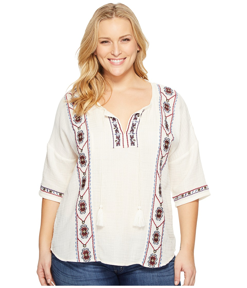 Lucky Brand - Plus Size Embroidered Popover Top (Egg Shell) Women's Clothing