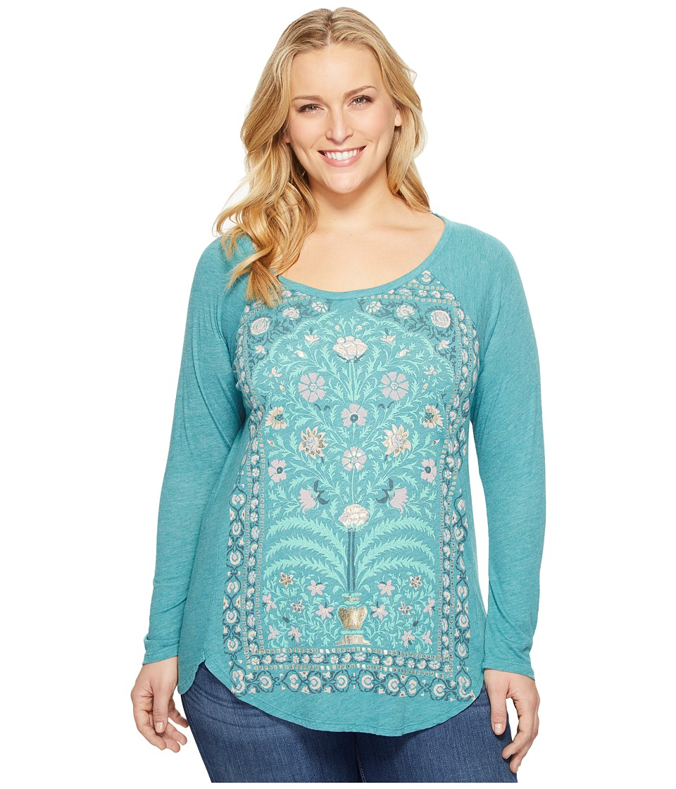 Lucky Brand - Plus Size Flower Frame Top (Everglade) Women's Clothing