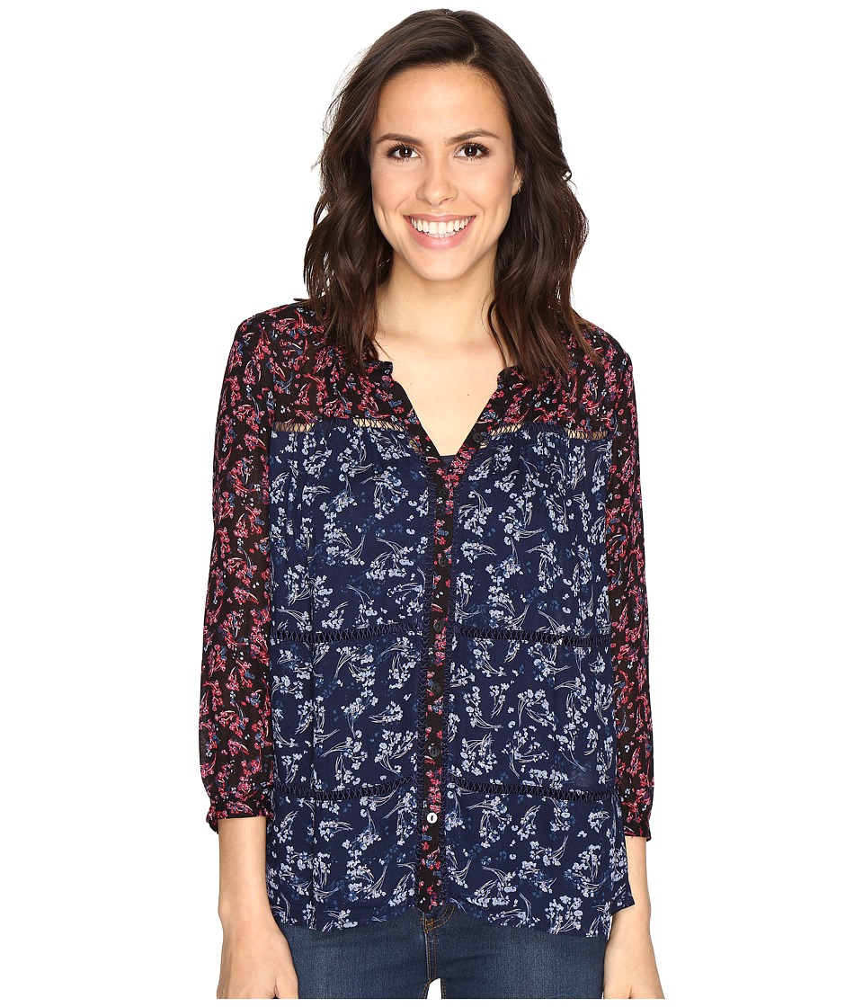 Lucky Brand - Mixed Print Peasant (Navy Multi) Women's Clothing