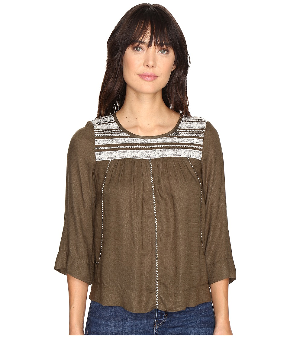 Lucky Brand - Olive Embroidered Top (Grape Leaf) Women's Clothing