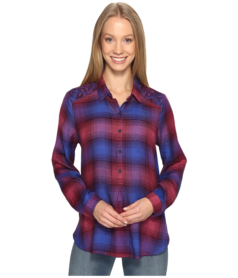 Lucky Brand - Embroidered Plaid Top (Purple Multi) Women's Clothing