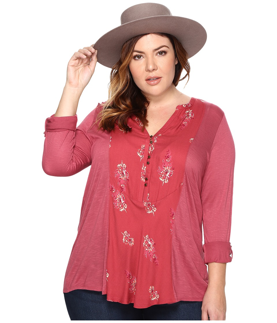 Lucky Brand - Plus Size Printed Woven Mix Henley (Red Multi) Women's Clothing
