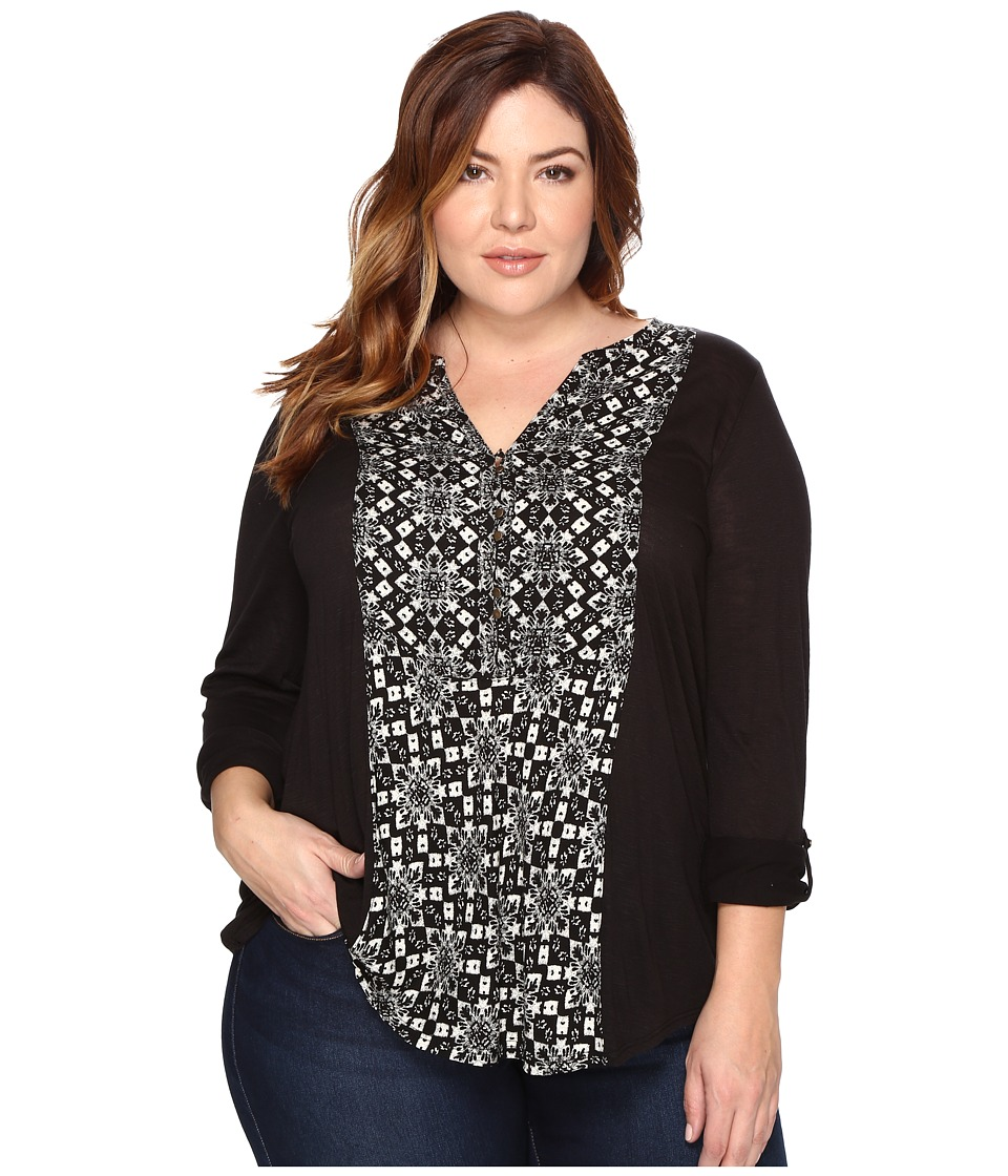 Lucky Brand - Plus Size Printed Woven Mix Henley (Black Multi) Women's Clothing