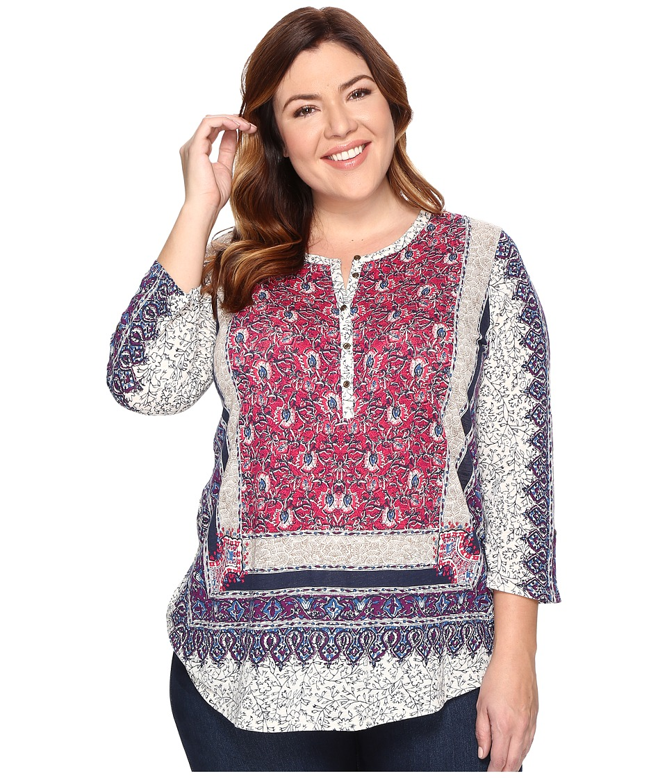 Lucky Brand - Plus Size Border Floral Henley (Pink Multi) Women's Clothing
