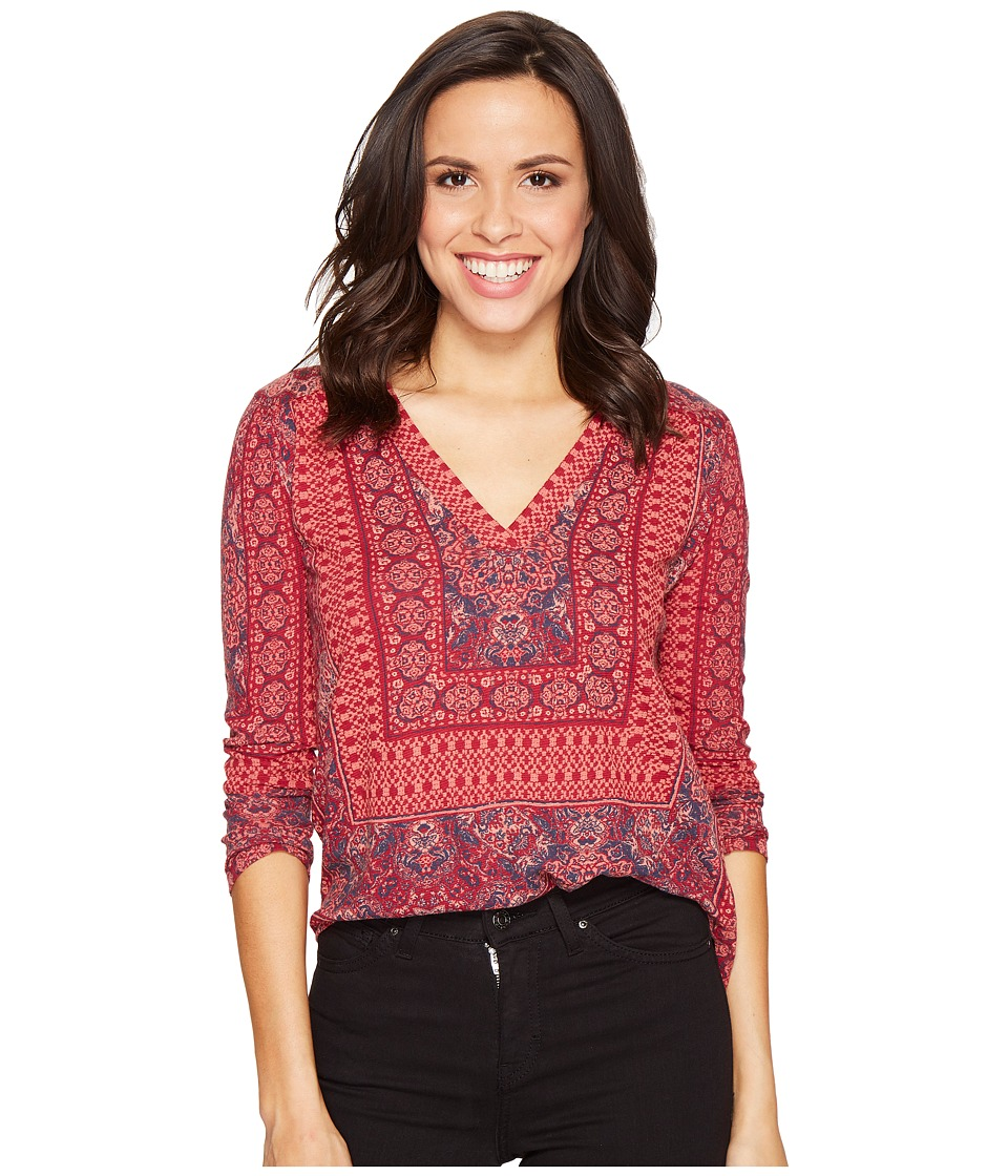 Lucky Brand - Border Print Top (Bright Rose Multi) Women's Clothing