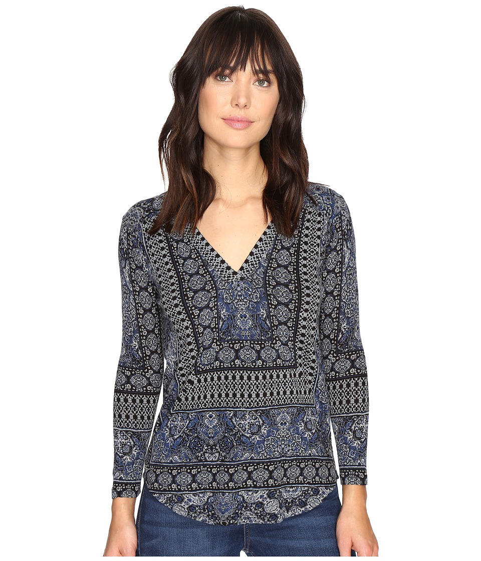 Lucky Brand - Border Print Top (Blue Multi) Women's Clothing