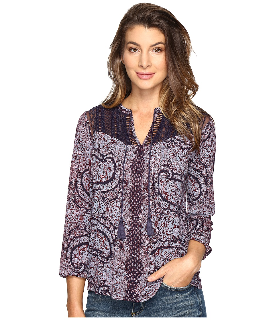 Lucky Brand - Lace Yoke Peasant Top (Purple Multi) Women's Clothing